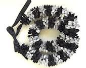 CUSTOM for Shannon - black/silver paper flower leis