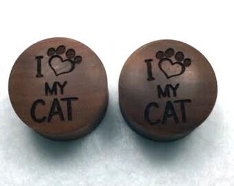 "Custom Handmade Organic ""I Love My Cat"" Wood Plugs - You choose wood type/color and size 7/16"" - 30mm"