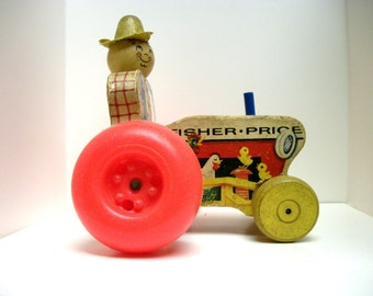Vintage Fisher Price Farmer Tractor 1961 #629