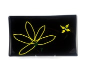 Abstract Canary Yellow & Black Flower Fused Glass Platter FB311 - Wedding Gift - Housewarming Gift - Simple Elegance