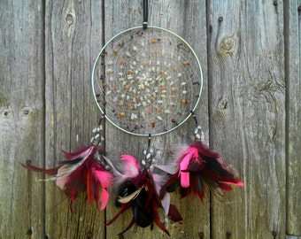 SALE Item - Was 58USD now 36USD - Pink Moon Dream Catcher Bohemian Hand Woven Dream Catcher in Silver by The Emerald Lotus