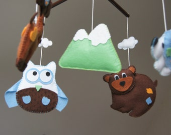 Baby Crib Mobile - Music Baby Mobile - Felt Mobile - Nursery mobile -  mountain - Mountain mobile