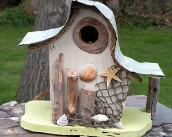 bird house, Nautical birdhouse, beach art, functional birdhouse, garden art in color options, gift, custom birdhouse, nautical decor