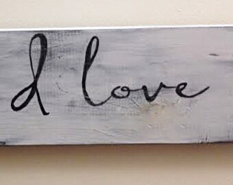 PS I Love You -Handpainted Wood Sign, 4.5x18