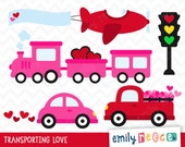 80% OFF SALE Valentine's Day Car Truck Train Plane Cute Clip Art, Instant Download, Commercial Use