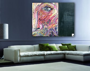 "Bird's Eye View - HUGE Original Modern Abstract Contemporary Art Painting - Size: 48 x 60"" Acrylic on Canvas by A.J. Wesolek"