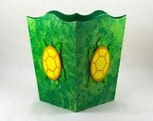 Turtle Trash Can with Moss Background