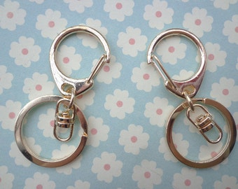 5pcs Gold Key Chain Rings With  Swivel Clasp