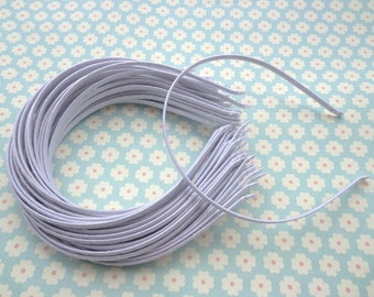 50 pcs Plain White Satin Covered Headband 5mm Wide
