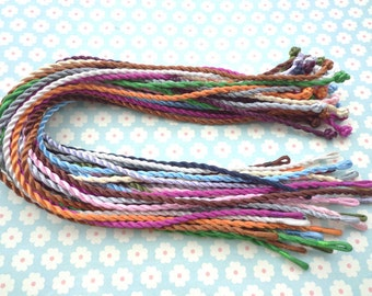 100 pcs 18-20 inch 3mm assorted colors(10colors) twist silk necklace cord with a loop and knot