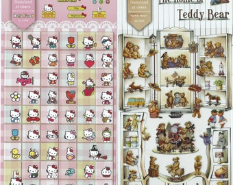 Japanese / Korean Stickers (Pick 1)  Hello Kitty Match OR the Home of Teddy Bear