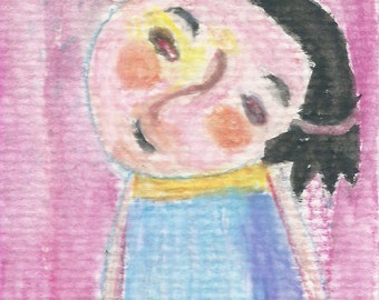 Original ACEO Watercolor Painting- My Childhood Friend