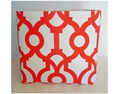 Extra Large Storage Basket Fabric Organizer in Lyon Lava Orange and White with Canvas liner - 10 x 10 x 10