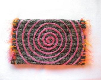Grey Pink Sparkle~ Wool Clutch Purse