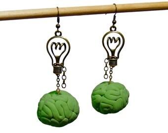 Bright Idea Zombie Bronze or Antique Silver Lightbulb Earrings