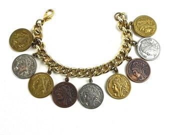 French Coin Charm Bracelet Vintage