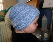 Hand knitted baby / toddler slouchy hat, blue, boy 1-2 years