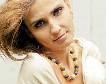 Amber Necklace Organic Baltic Amber Jewelry Summer Fashion Modern Amber