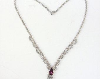 Vintage Rhinestone Necklace - Rhinestones with a Purple Stone - Vintage Jewelry - Wedding Necklace - Bride Jewelry - Bridesmaids Gift