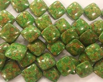 25mm diamond beads mosaic composite howlite beads, 18beads