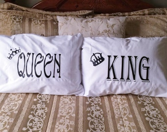 Couples Gifts, King & Queen Pillow cases, His and Hers Pillowcases, Anniversary gifts, Wedding gifts, Couples Pillow Cases, Bedroom Decor