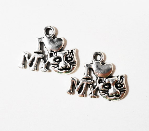 I Love My Cat Charms 17x15mm Antique Silver Metal I Heart My Cat Pendant, Pet Charms, Kitty Charms, Animal Charm, Craft Supplies 10pcs