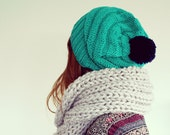 Green slouchy beehive beanie with pom pom, slouch knit hat, hipster beanie, boho slouch hat, handmade beanie, beehive hat, girls fashion.