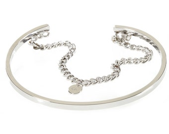 232S-Silver Metal Chain Cuff Bracelet