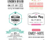 Birth Announcement overlays - new baby photo card overlays template PSD - E-001