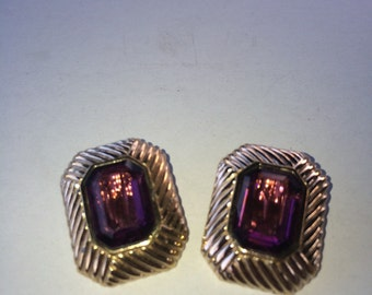 Vintage Jewelryi Estate awesome Pa nneta couture ameythst clip earrings