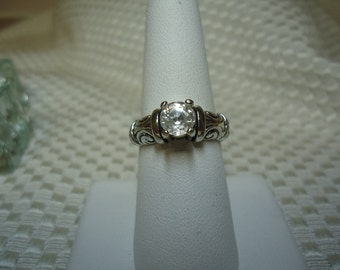 Round Cut White Zircon Ring in Sterling Silver