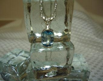 Oval Cut Blue Zircon Necklace in Sterling Silver