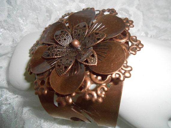 CUFF BRACELET - Copper on Copper Flower Cuff Bracet