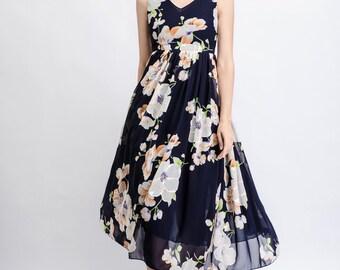 Floral Chiffon Dress - Bold Flower Print Sleeveless V-neck Fully Lined Midi Length High Waisted Woman's Summer Dress C469