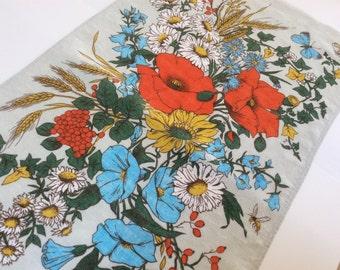 Vintage Irish Linen Towel, Linen Tea Towel, Ulster Linen Ireland, September Bouquet, Excellent Condition