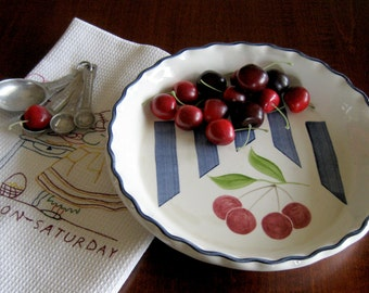 Cherry Pie Plate Artist Signed by Laurie Gates - Laurie Gates Los Angeles Pottery - Designer Porcelain Baking Dish - Artist Signed Pottery