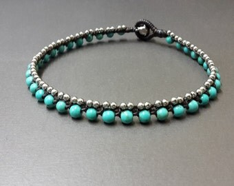Turquoise  Ball  Brass  Anklet