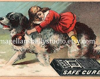 Child With Dog  Instant Digital Download  1800's Warners Safe Cure Victorian Trade Card Desktop Wallpaper