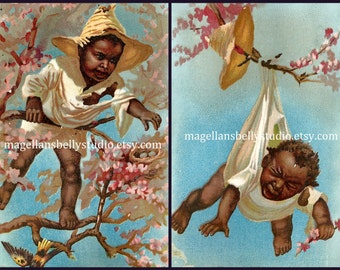 Baby Caught In Tree Instant Digital Downloads Set of 2 Black Americana 1800's  Trade Card Reproduction Antique Image African American