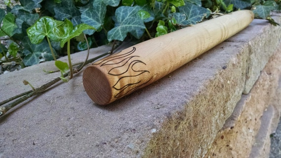 "Wood french rolling pin, ""Flame Maple"" wood burned functional art piece, 20 inches long"