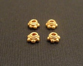 Super SALE Small Bali Gold Vermeil Bead Caps with Granulation Design--set of 4