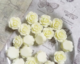 Flower Cabochons Resin Cabochons Ivory Cream Flowers Bulk Cabochons Flowers for Rings Wholesale 10mm-100pcs