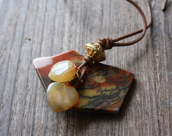 90s - Jasper Carnelian and Leather Necklace