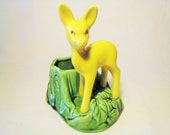 1950s Deer / Fawn Shawnee Planter USA 624 - Mid Century Kitschy Woodland Decor for Suculants or Air Plants / Yellow and Green