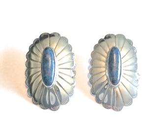 Beautiful Vintage Navajo Sterling Silver & Denim Lapis Lazuli Scalloped Concho Earrings