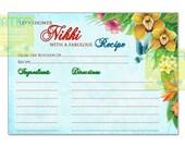 Hawaiian Recipe Card, Tropical Flowers Recipe Card, Hawaiian Recipe Card DIY, Hawaiian Bridal Shower Recipe Card, Luau recipe card, recipe