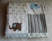 Blue and Brown Elephant Baby Quilt, Turquoise Elephant Nursery Quilt, Blue and Brown Crib Quilt, Elephant Nursey Bedding