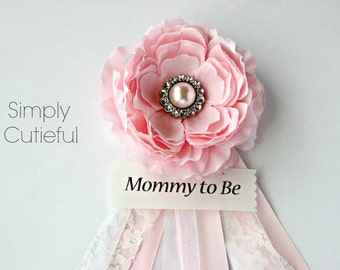 Pink Lace Baby Shower Corsage for Baby Girls or Bridal Showers with Mommy to Be Grandma to Be Bride to Be and Custom Pins Badge
