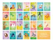 """Nursery Animal Alphabet Poster by Oddly Olive, Tiffany Holesovsky - 16"""" x 20"""" Epson Paper Giclée Print"""