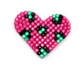 Sparkly Leopard Heart Hair Clip - Custom Colour Rhinestone Heart Hair Accessory - Rockabilly Psychobilly Bright Coloured Animal Print Bling